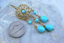 Roman Etruscan Turquoise Earrings 22Kt Gold over Sterling Silver Made in Italy