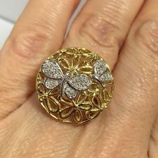 New 14k Yellow Gold Sterling Silver Diamond Pave Butterfly Flower Artisan Ring 6