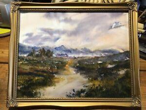 "Moody Moorland Walk 12 x 10"" Steven Cronin Original Watercolour Painting Framed"