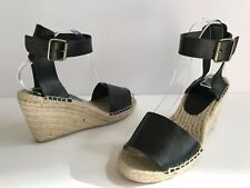 9dd68157bb23 J. Crew Corsica Black Leather Espadrille Wedges Size 7