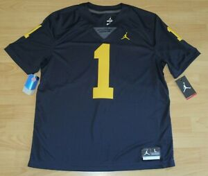 Air Jordan Michigan Wolverines #1 Home Vapor Limited Football Jersey Men's Large