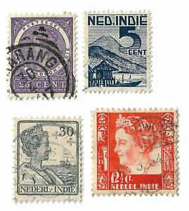 Netherlands Indies postage stamps x 4, used
