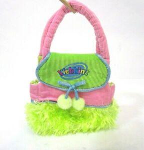 "Ganz Webkinz Purse Pet Carrier 11"" Girl's Pink Corduroy Green Faux Fur Stripes"