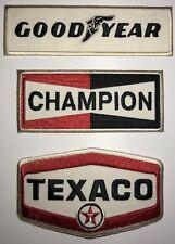 3 BRODERIES: TEXACO -CHAMPION -GOODYEAR =ECUSSONS- BADGES
