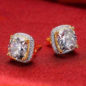 Cyber Monday Diamond 2Ct Cushion Cut Halo Style Stud Earrings Yellow Gold Finish