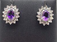Sterling Silver 925 Oval Purple Amethyst CZ Halo Flower Stud Post Earrings