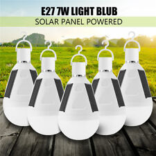 5x 7W E27 Solar Panel LED Bulb Light Portable Outdoor Garden Camping Tent  Lamp