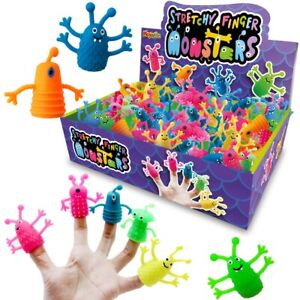 6 Stretchy Finger Puppet Monsters - Toy Loot/Party Bag Fillers Childrens/Kids