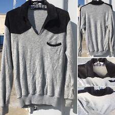 Vintage Velour & Terry Cloth Sweater Shirt Hippy 70s 80s Long Sleeve Gray Black