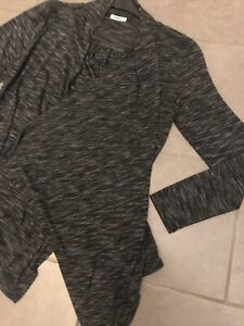 Gilet Long Femme Gris Chiné Anthracite ONLY Taille L