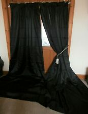 "Extra LONG Black Faux Silk Curtains 108""Drop ~ 132""Wide. Lined. Pair One"