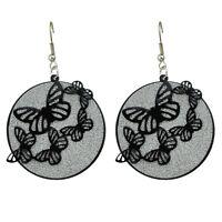 Fashion Costume Jewellery Silver Black Butterflies Drop Dangle Earrings E1084