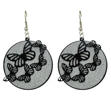 FASHION bigiotteria argento Brown Farfalle Goccia Dangle Earrings e1084
