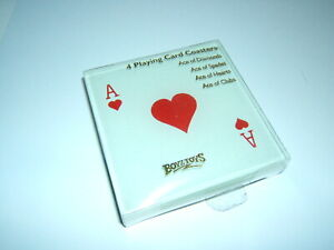 SET 4 VALENTINES DAY GLASS ACE OF HEARTS COASTERS SET RED HEART LOVE GIFT CASINO