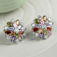 Multi-Color Natural Amethyst Citrine Garnet Silver Clip On Stud Flower Earrings
