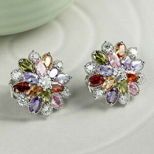 Multi-Color Natural Amethyst Citrine Garnet Silver Clip On Stud Flower Earrings