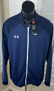 Under Armour UA Knit Warm-Up Stealth Blue Full Zip Jacket, 1327203-410, Men's XL