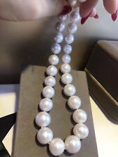 gorgeous AAA++11-12mm south sea round white pearl necklace 18inch 14k