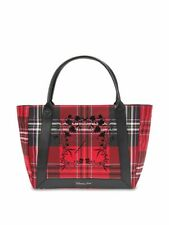 VICTORIA'S SECRET RED BLACK PLAID PURSE HANDBAG LARGE EVERYDAY TOTE SHOULDER BAG