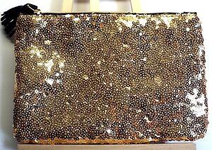 "Ipsy Cosmetic Shinny Gold Sequin Fringe Zipper Bag 7.5"" x 5.25"" New"