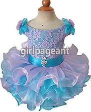 Infant/toddler/baby Crystals Blue/Lilac Lace Pageant Dress 6~9 Months G130-3