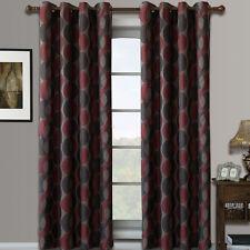 Red Savanna Grommet Jacquard Window Curtains Drapes, Set of 2 Panels