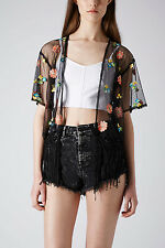 NEW TOPSHOP Embroidered Floral Kimono Fringe TOP BLOUSE Sz S/M BLACK SOLD OUT!!
