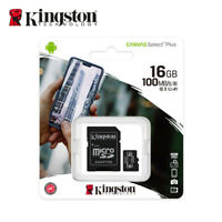 Kingston 16GB MicroSD SDHC Class10 C10 U1 A1 Memory Card TF 100MBs with Adapter