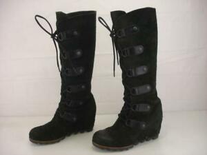 SOREL Womens 7 M Joan of Arctic Dark Green Suede Leather Knee High Boots Lace-Up