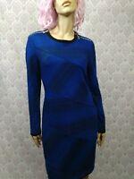 Joseph Ribkoff Sheath Dress Womens 12 Blue Black Zipper Detail Stretch Lined