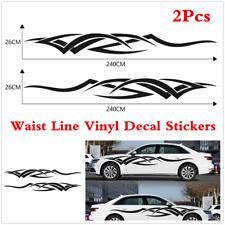 2x Car Side Door Waist line Decal Black Flame Tribe Racing Stripes Decor Sticker