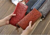 New Fashion Women Lady Genuine Leather Long Purse Wallet Phone Card Zip Handbag