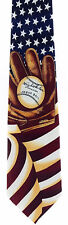 New! Baseball and Glove on American Flag Patriotic Sports Novelty Necktie #642