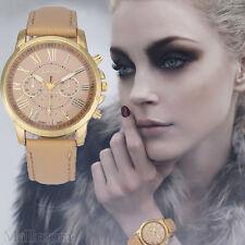 Damen Mode Armbanduhr Geneva Roman Numerals Faux Lederuhr Analoguhr Quartz Watch