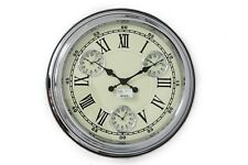 LARGE SILVER CHROME IRON METAL GLASS FACE ROUND WALL CLOCK