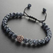 2016 Men's Bracelet Matte Obsidian Stone Rose Gold Plated Ball Beaded Bracelets