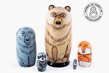 """Forest Animals Nesting doll 5 pcs, Matryoshka 4.25""""/ 11cm"""