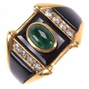 onyx Ring K18 yellow gold/Emerald/diamond #7(US Size) Women