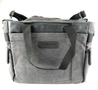 Tarion Camera Messenger Bag Grey with Black Straps Removable Lens Protector