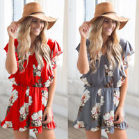Plus Size Women Holiday Mini Playsuit Dress Summer Loose Beach Jumpsuit Shorts