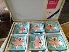 """Ando Cloisonné enamel Orchid Six 3"""" dishes Gift Boxed"""