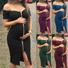 Women Pregnant Maternity Nursing Solid Lady Breastfeeding Summer Maternity Dress