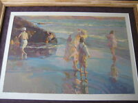 """NICE DON HATFIELD """"FAMILY TIES"""" LIMITED EDITION SERIGRAPH PRINT W/FRAME, SIGNED"""