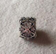 Sterling Silver Chamilia Bead~Shimmering Stones~Clear Swarovski Crystal~European