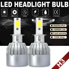 1 Pair H3 200W 20000LM COB LED Headlight Conversion Kit Bulbs 6000K White Lamp