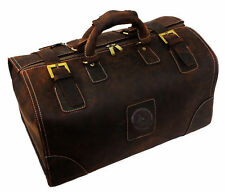 Men's Brown Vintage Genuine Leather Cowhide Travel Luggage Duffle Gym Bags Tote