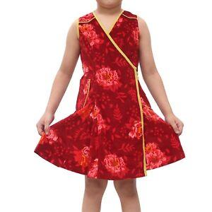 Bonpoint Kids Girl Velvet Red Wrap Mini Dress Floral Easter Boho 10 Years 203628