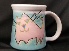 1990's Signed Handcrafted Pottery Mug, Pink Cat, 24-K Embellishment, New/Unused