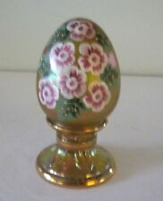 Fenton Glass Egg Iridecscent Glass Flowers Gold Accents Egg Paperweight Figurine