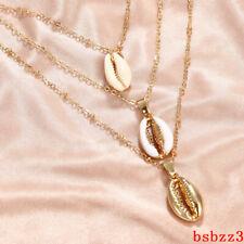 Fashion Womens Shelll Multi-Layer Choker Collar Pendant Necklace Chain Jewelry